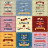 Success quotes set colored. Success motivational success life and inspiration quotes colored labels set isolated vector illustration Stock Photo