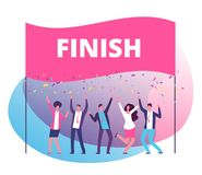Success reach goal concept. Business persons celebrating victory at finish line. Compete in business motivation vector stock illustration