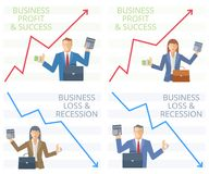 The success and recession of business flat vector concept illustration stock illustration