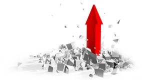 Success red arrow breakink the ground - 3d rendering. Success red arrow breakink the ground background - 3d rendering Royalty Free Stock Photos