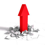 Success red arrow growing up through ground crack hole. 3d render illustration Royalty Free Stock Images