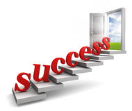 Success red letters up to door. Success red 3d letters up stairs to door with view to field and sky on white background Royalty Free Stock Images