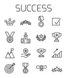 Success related vector icon set. Well-crafted sign in thin line style with editable stroke. Vector symbols isolated on a white background. Simple pictograms Royalty Free Stock Photos