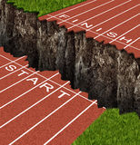 Success Risk. And conquering adversity in reaching your goals as a business concept represented by a track and field race track with start and finish lines stock illustration