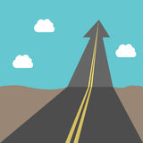 Success road with arrow. Road with arrow to sky. Success, business, growth, future, goal, freedom, opportunity, aspirations and faith concept. EPS 8 vector Stock Photography