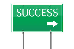 Success road sign. Arrow billboard blue business career choice clear royalty free stock image