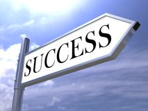 Success road sign. metal and shiny Stock Image