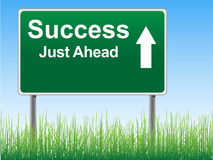 Success road sign on the sky background Stock Image