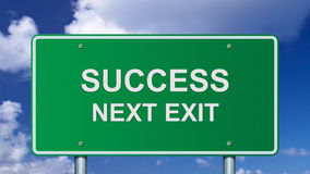 Success road sign Stock Photos