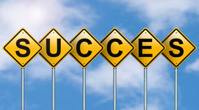 Success on road signs. Stock Photos