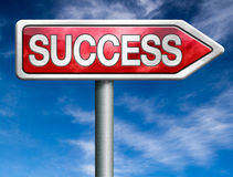 Success road to successful business. Success red road sign arrow with text successful life and business succeed in task exam test or examination royalty free illustration