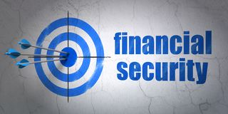 Safety concept: target and Financial Security on wall background. Success safety concept: arrows hitting the center of target, Blue Financial Security on wall Royalty Free Stock Photography