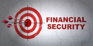 Safety concept: target and Financial Security on wall background. Success safety concept: arrows hitting the center of target, Red Financial Security on wall Royalty Free Stock Image