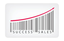 Success sales concept. Vector illustration concept of barcode label with success sales text. Isolated on white background stock illustration