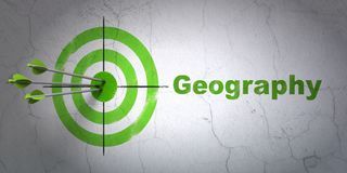 Science concept: target and Geography on wall background. Success Science concept: arrows hitting the center of target, Green Geography on wall background, 3D Royalty Free Stock Image
