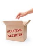 Success secrets. Hand reaching into a box labeled success secrets Stock Images