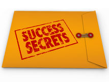 Success Secrets Winning Information Classified Envelope. A yellow envelope with a red stamp with the words Success Secrets full of  information on succeeding or Stock Photography