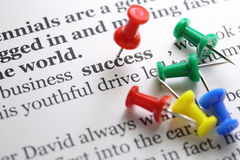 Success. Selected success text with red pin Royalty Free Stock Images