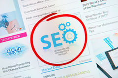 Success SEO Advertisement. Success internet banner advertisement with text SEO and red circle selection around Royalty Free Stock Photo