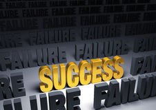 Success!. A shining, gold SUCCESS stands out in a dark field of gray FAILUREs Stock Photos