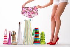 Success shopping. Beautiful new shorts. Royalty Free Stock Photos