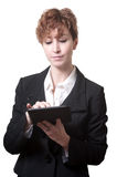 Success short hair business woman using tablet Stock Photos