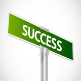 Success sign. Green Success street sign abstract background Stock Image