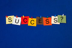 Success - sign for business, mentoring, coaching, sport and life. Success sign, with tiles and pins on blue noticeboard stock photos
