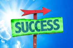 Success sign with sky background Royalty Free Stock Photos