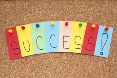 Success. Single papers pinned on cork noticeboard Royalty Free Stock Images