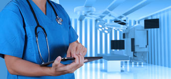 Success smart medical doctor. With operating room Royalty Free Stock Image