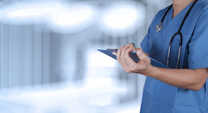 Success smart medical doctor working. With operating room Royalty Free Stock Image