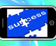 Success On Smartphone Shows Successful Solutions Royalty Free Stock Photo