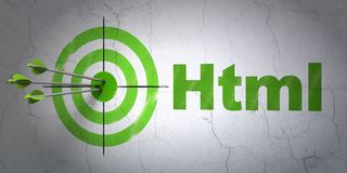 Software concept: target and Html on wall background. Success Software concept: arrows hitting the center of target, Green Html on wall background, 3D rendering Stock Photography