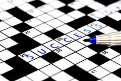 Success in solving crossword puzzle Royalty Free Stock Images