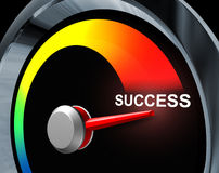 Success Speedometer. Business concept of fast powerful achievement as a result of careful planning of a financial strategy represented by a speed gauge Royalty Free Stock Photo