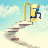 Success stair. Man jump from 3d books stair Royalty Free Stock Photo