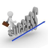 Success Stairs. Business man on success stairs with a blue upswing arrow Stock Photography