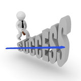 Success Stairs. Business man on success stairs with a blue upswing arrow Stock Image