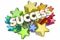 Success Stars Celebration Succeed Mission Goal. 3d Illustration royalty free illustration