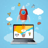 Success Start Up Concept Space Ship Rocket and Gadget Device. Vector vector illustration