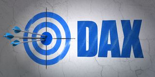 Stock market indexes concept: target and DAX on wall background. Success Stock market indexes concept: arrows hitting the center of target, Blue DAX on wall Stock Photo
