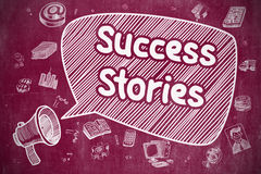 Success Stories - Hand Drawn Illustration on Red Chalkboard. Stock Photos