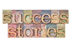 Success stories. Isolated text in letterpress wood type blocks stained by color inks Royalty Free Stock Photography