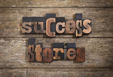 Success stories written with letterpress type Royalty Free Stock Photography