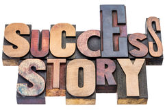 Success story wood type typography Stock Images