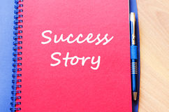 Success story write on notebook Stock Images