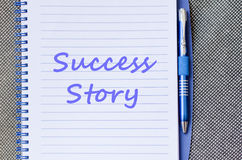 Success story write on notebook Royalty Free Stock Image