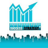 Success strategy. Abstract colorful background with a blue graph with arrow and the words success and strategy written bellow with white and black letters Stock Image