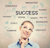Success strategy diagram with beautiful young business woman Royalty Free Stock Photo